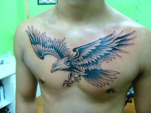 Wonderful American Eagle Tattoo On Chest