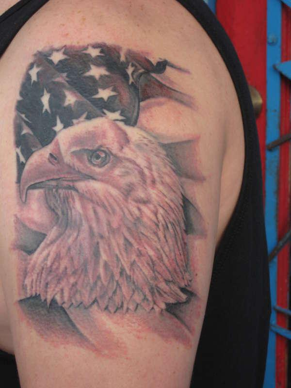 Wonderful American Tattoo On Shoulder