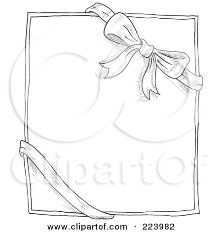 A Doodle Sketch Of A Bow And Ribbon Around A Box Or Paper Tattoo Design