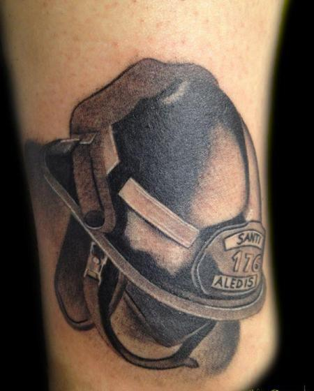 A Realistic Firefighter Helmet Tattoo