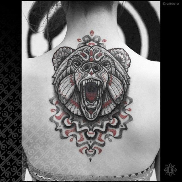 A Roaring Bear Leaps From The Center Of The Mandala That Is The Base Of This Tattoo Design