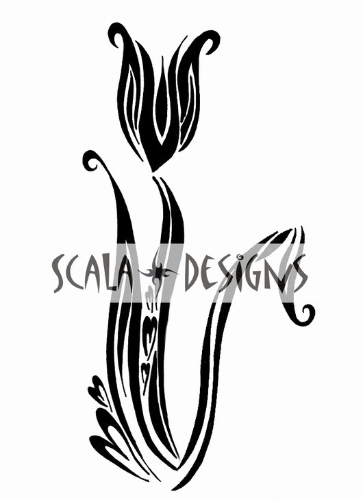 A Tribal Tulip Tattoo Design