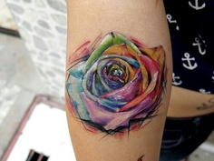A Watercolor Rose Tattoo (2)