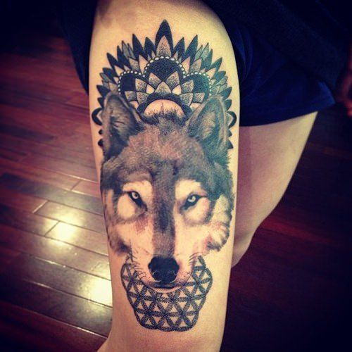 A Wolf Wears A Mandala Design As A Spiritual Crown In This Decorative Animal Totem Tattoo