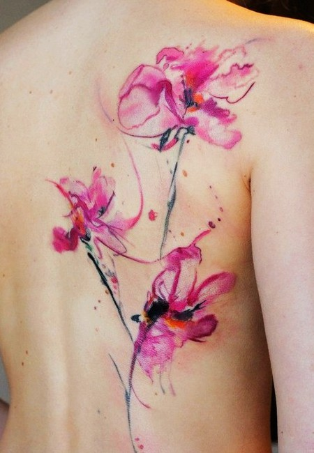 Abstract Flower Watercolor Tattoos On Back For Women