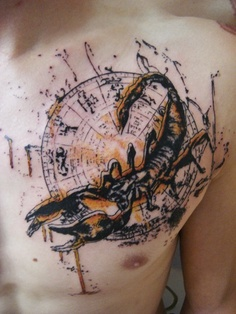 Abstract Scorpion Tattoo On Chest