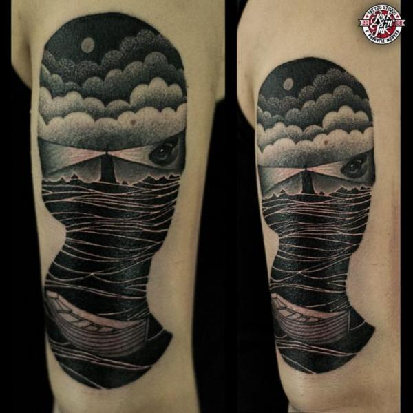 Abstract Sea Lighthouse Tattoo On Arm