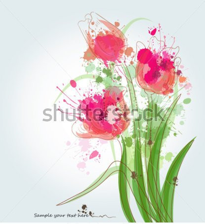 Abstract Watercolor Tulips Tattoo Designs