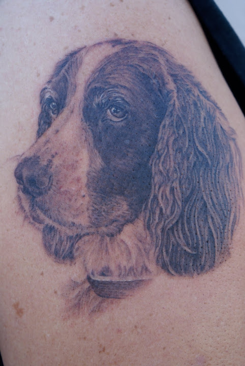 Again Dog Portrait Tattoo