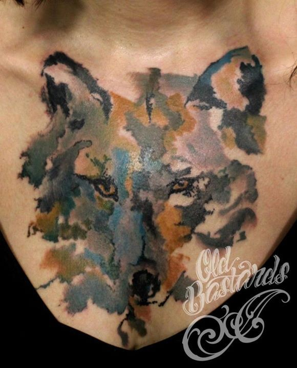Again Watercolor Wolf Tattoo