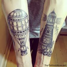 Air Balloon And Grey Lighthouse Tattoos
