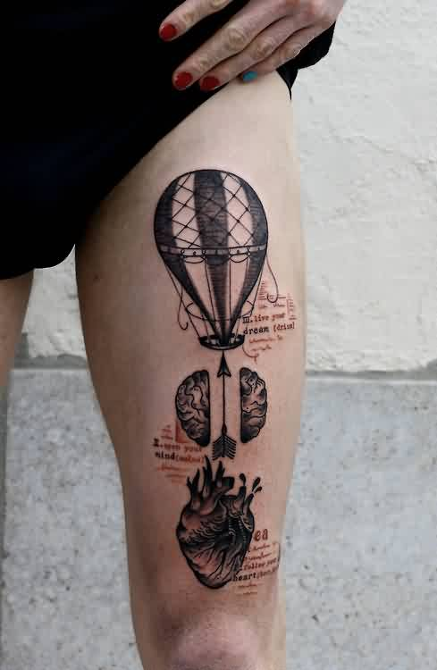 Air Balloon Arrow And Heart Tattoos On Thigh