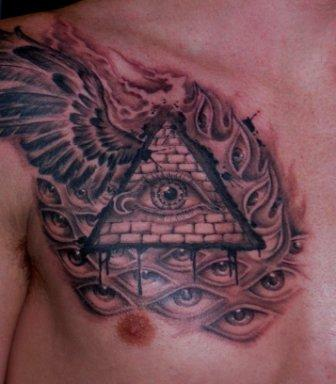 Alex Grey Ish Pyramid Tattoo On Chest