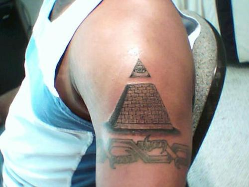 All Seeing Eye Pyramid And Armband Tattoos On Biceps