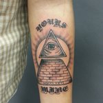 All Seeing Eye Pyramid Tattoo On Arm