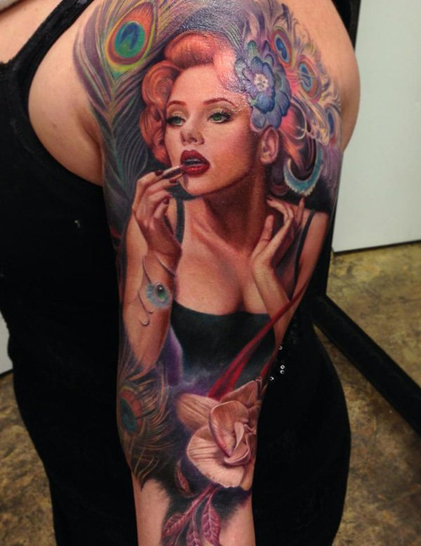 Alluring Female Portrait Tattoo On Half Sleeve (2)