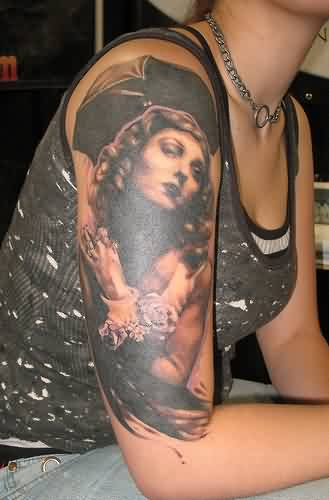 Alluring Female Portrait Tattoo On Half Sleeve