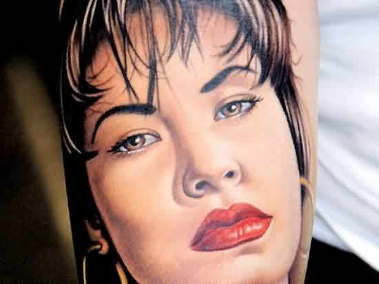 Alluring Girl Face Portrait Tattoo