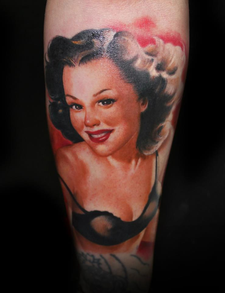 Alluring Pin Up Girl Portrait Tattoo (2)