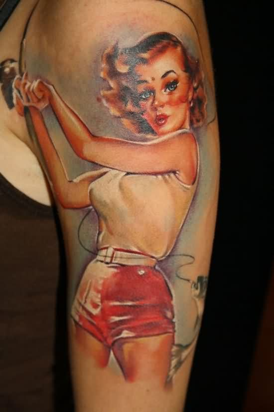 Alluring Pin Up Girl Portrait Tattoo On Sleeve