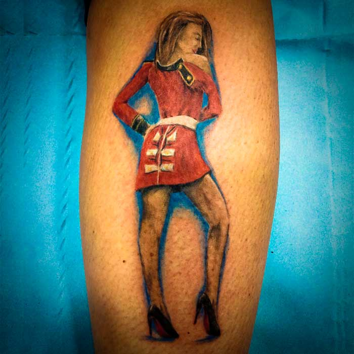 Alurring Red Dressed Queen Tattoo