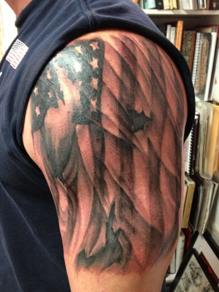 Amazing American Flag Tattoo On Half Sleeve