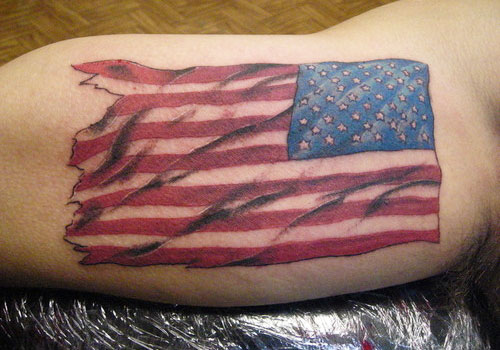 Amazing American Flag Tattoo On Muscles