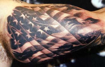 Amazing American Tattoo On Muscles