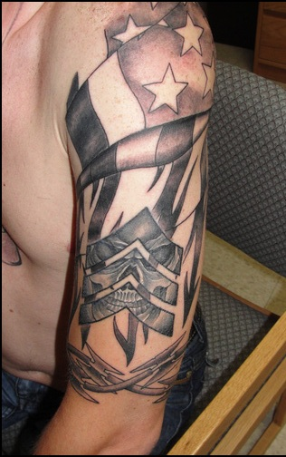 Amazing American Tattoos On Half Sleeve