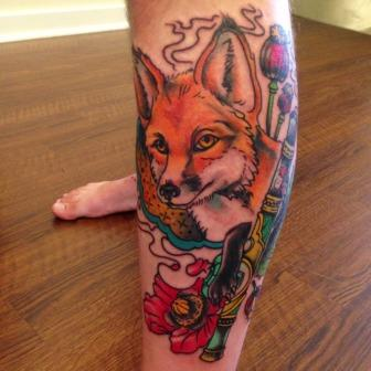 Amazing Animal And Flower Tattoos On Leg