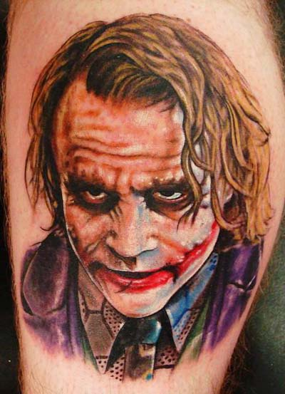 Amazing Batman Joker Portrait Tattoo