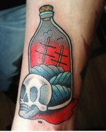 Amazing Bottle And Skull Tattoos On Arm