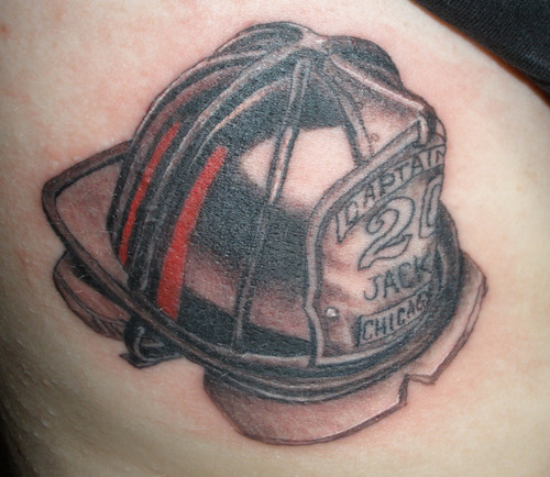 Amazing Fireman Helmet Tattoo