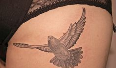 Amazing Grey Flying Pigeon Tattoo