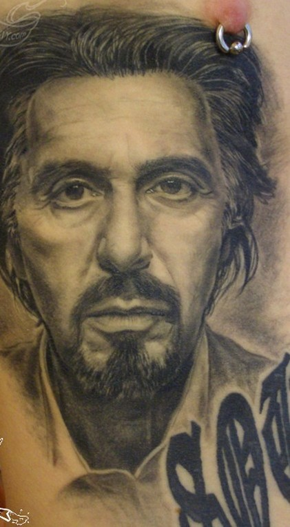 Amazing Grey Ink Al Pacino Portrait Tattoo For Men
