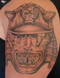 Amazing Grey Japanese Helmet Tattoo