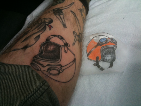 Amazing Helmet Tattoo