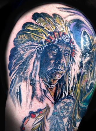 Amazing Indian Chief Portrait Tattoo Image