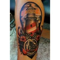 Amazing Lighthouse And Ship Anchor Tattoos