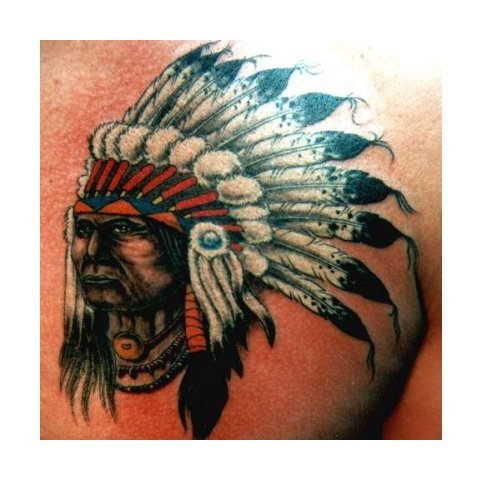 Amazing Native American Tattoo On Chest