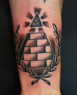 Amazing Rays And Pyramid Tattoos