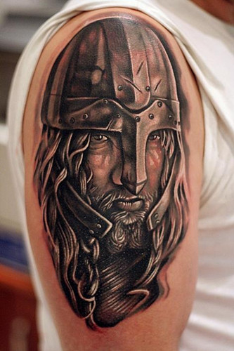 Amazing Warrior Portrait Tattoo On Shoulder