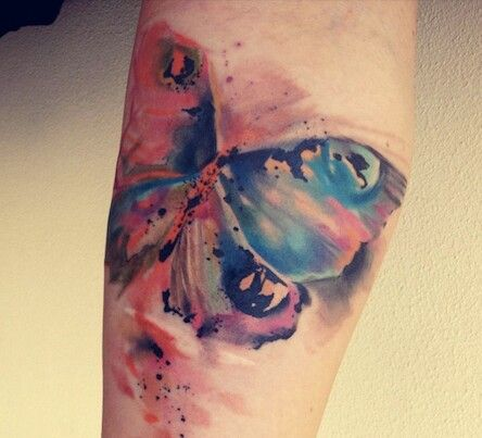 Amazing Watercolor Butterfly Tattoo