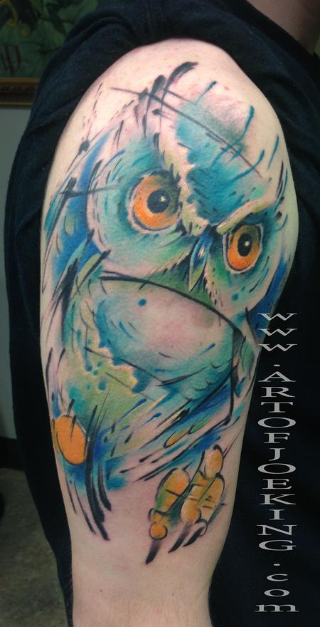 Amazing Watercolor Owl Tattoo On Shoulder