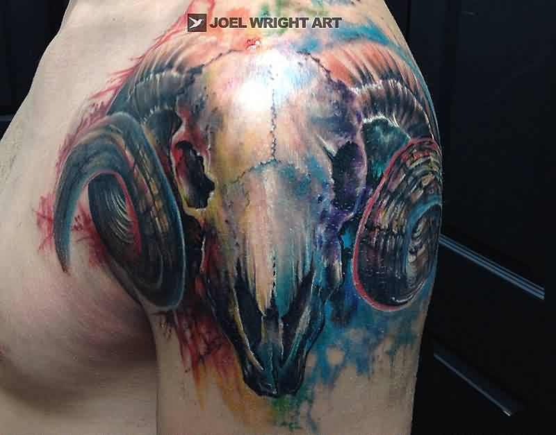 Amazing Watercolor Ram Skull Tattoo On Shoulder