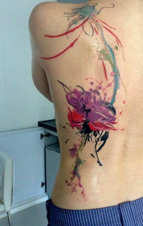 Amazing Watercolor Tattoos On Side Of Back