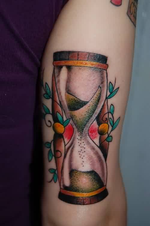Amazing Wooden Hour Glass Tattoo
