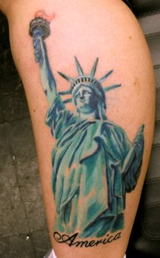 America Statue Liberty Tattoo On Leg