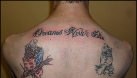 American And African Tattoos On Back Of Shoulders