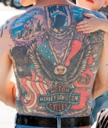 American And Harley Davidson Tattoos On Entire Back